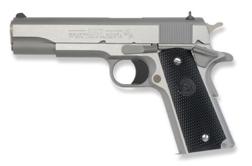 "Colt Series 1991 Government 9mm 5"" Barrel Brushed SS Finish White Dot Sights Composite Grips 8rd"