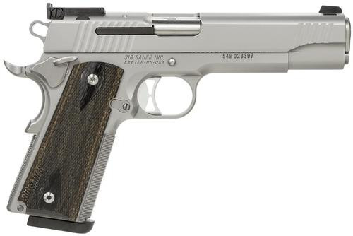 SIG 1911 40 S&W 5IN Match Elite Stainless Finish SAO Adjustable Sights Blackwood Grip (2) 8RD Steel MAG