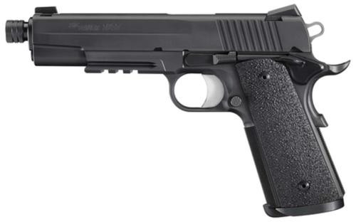 Sig 1911 45 ACP 5.6In TAC OPS Black SAO Siglite Ergo XT Grip (4) 8RD Steel MAG Rail Threaded (.578X28 RH)