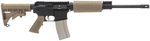 "Olympic Arms AR-15 Plinker + Flat Top SA 223/5.56 16"" Barrel, 6 Pos Stock Coyote, 30rd"