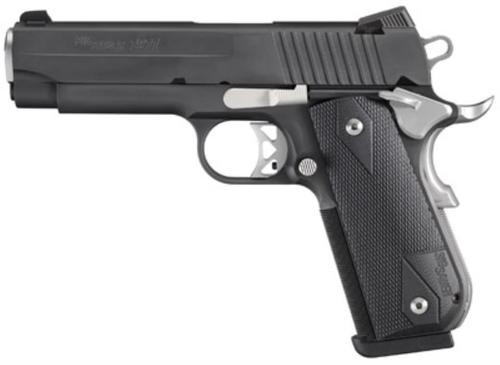 Sig 1911 45 ACP 4.2In Nightmare Black SAO Siglite Black G10 Grip (2) 8RD Steel MAG Fastback
