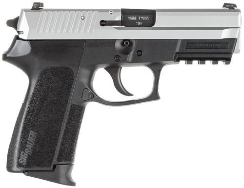 Sig Sp2022 9MM 3.9In 2-Tone Black/Stainless Da/Sa Siglite Polymer Grip (2) 15Rd Steel MAG Rail