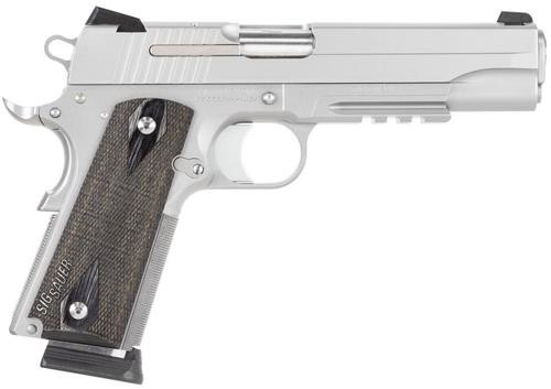"Sig 1911 45 ACP, 5"" Barrel, Stainless Stainless Finish SAO Siglite Blackwood Grip (2) 8RD Steel MAG Rail CA Compliant"