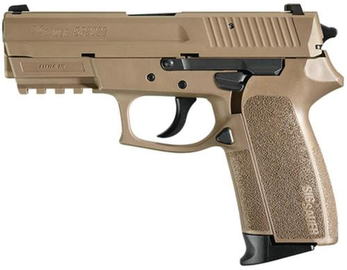 Sig Sp2022 9MM 3.9In Flat Dark Earth Da/Sa Siglite Flat Dark Earth Polymer Grip (2) 15Rd Steel MAG Rail