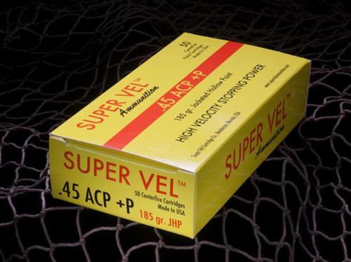 Super Vel 45 ACP +P 185gr, 50 Round Box