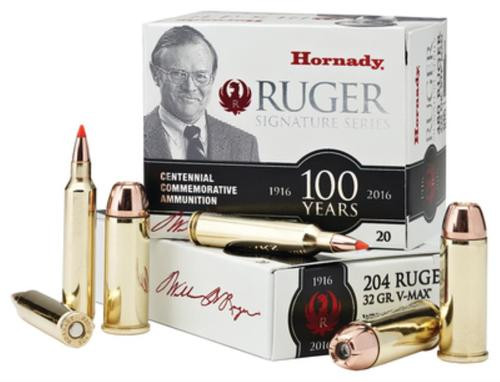 Hornady Ruger Commemorative Ammo, .204 Ruger, 32 Gr, V-Max, 20rd Box