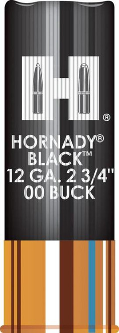 "Hornady Black 12 Ga, 2.75"", Buckshot, 8 Pellets, 00 Buck, 10rd/Box"