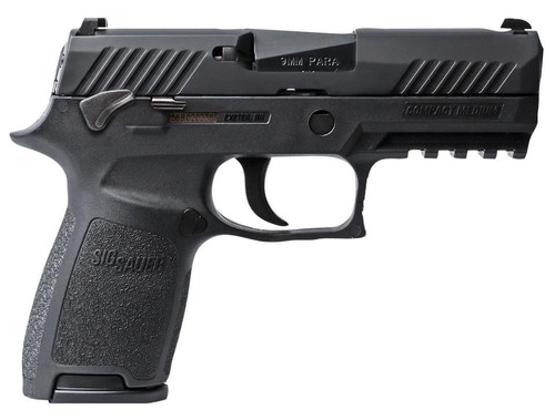 "Sig P320 Compact 9MM 3.9"" Barrel Siglite MOD Poly Grip, Manual Safety (2) 15Rd Mags"