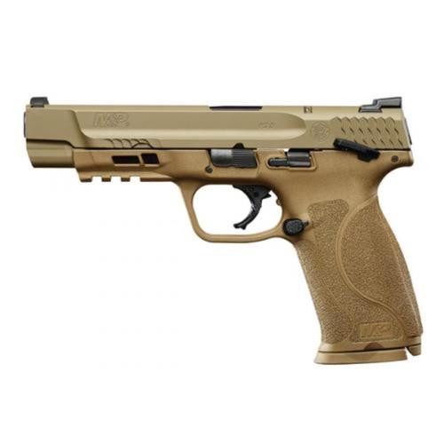 "Smith & Wesson M&P M2.0, 9mm, 5"" Barrel Flat Dark Earth 17rd Mag, Safety"