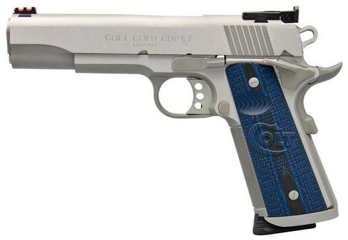 "Colt Gold Cup Trophy, 9mm, 5"", Blue G10 Grips, Brushed Stainless, 9rd"