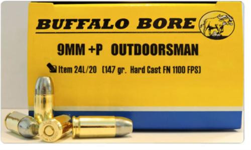 Buffalo Bore Outdoorsman 9mm +P, 147 Gr, JHP, 20rd Box