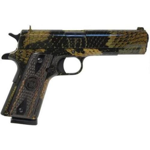 "Iver Johnson 1911 A1, 45 ACP, 5"", 8rd, Black Boa Snakeskin Finish, Wood Grips"