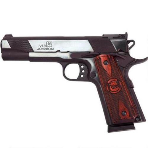 "Iver Johnson Eagle 1911 A1, 45 ACP, 5"", 8rd, Polished Blue, Wood Grips"
