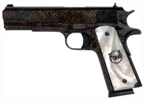 "Iver Johnson Hawk 1911A1, 45 ACP, 5"", 8rd, Water Moccasin Finish, Peal Grips"
