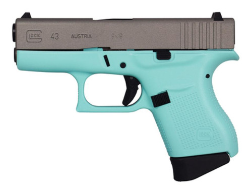 Glock 43 9x19 6 Round Turquoise Frame Silver Slide Made in Austria