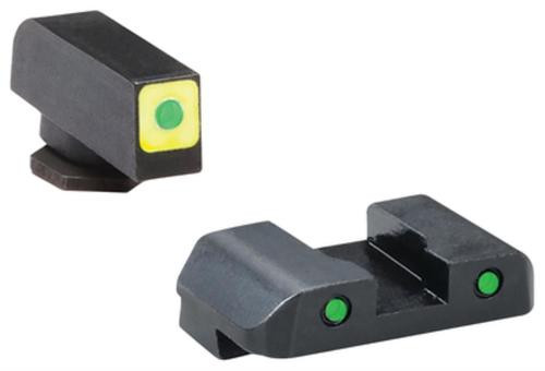 AmeriGlo CAP LE Tritium Sight Set Glock 20/21 Green Front With Luminescent Yellow Square Outline Green Rear Horizontal Line
