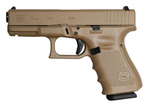 Glock G19 Gen4 9mm, 15rd, FS, Combat Coyote Tan Cerakote