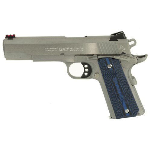 "Colt Series 70 Competition SS 45 ACP, 5"" Match Barrel, Novak Sights, G-10 Blue Grips, 8rd Mag"