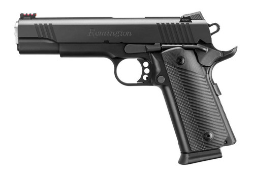 "Remington R1 Full Size, 45 ACP, 5"", Steel Frame, Black, 15Rd, Fiber Optic Front/Adjustable Rear"