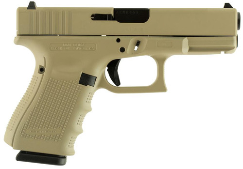 "Glock G19 Gen4 9mm, 4"" Barrel, Desert Tan Finish 15rd Mag"