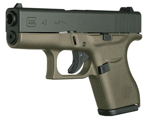"Glock 43, 9mm, 3.39"" Barrel, 6rd, Fixed Sights, OD Green"