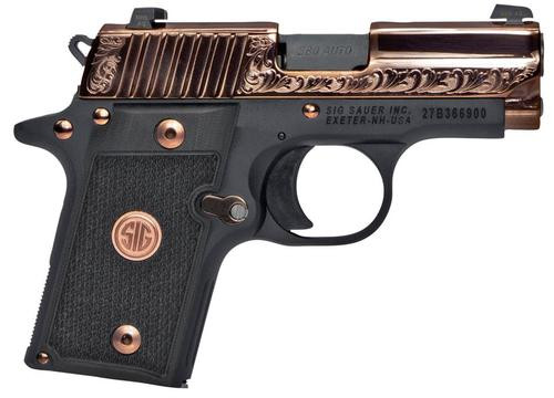 "Sig P238, .380 ACP, 3"", Black G10 Grips, Rose Gold Finish, 7rd"