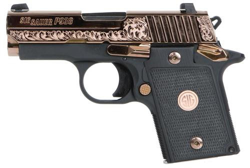 "Sig P938, 9mm, 3"", Rose Gold, Black G10 Grips, 6 rds"
