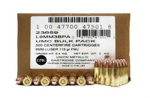 Remington 9mm Target Ammo 115gr, FMJ 500rd/Case