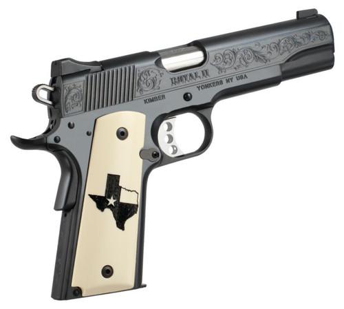 Kimber Royal II Texas Limited Edition 45 ACP High Polished Deep Blue Bonded Ivory Grips