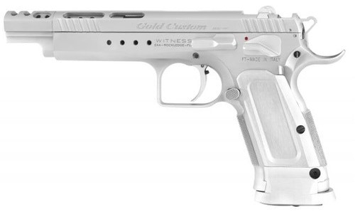 "EAA Witness Gold, Tanfoglio, Full Size, 9MM, 5.25"" Ported Barrel, Steel Frame, Chrome Finish, Aluminum Frame, Adj Sights, Ambi Safety, 18Rd Mag"
