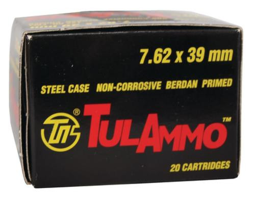 TulAmmo 7.62X39mm 122gr, Full Metal Jacket, Lead Core, 1000rd/Case