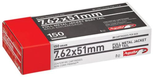 Aguila 7.62x51mm 150gr, FMJ Boat Tail, 20rd Box