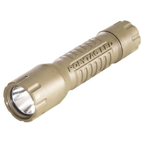Streamlight PolyTac LED with lithium batteries. Blister Packaged. Coyote
