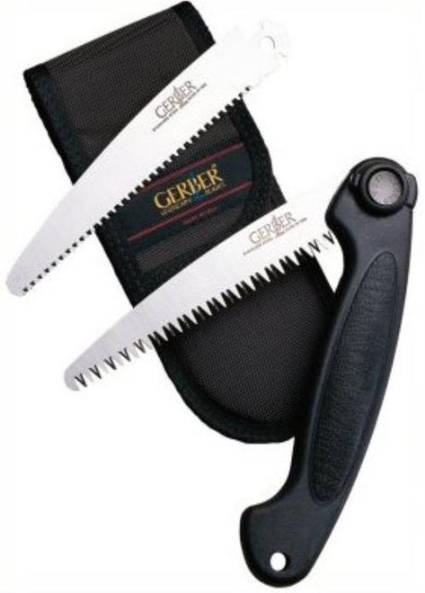 Gerber Exchange-A-Blade Saw - 2 Blades: Wood/Coarse + Bone/Fine - Black Sheath, Saws