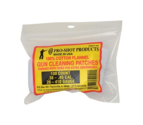 """Pro-Shot Cotton Flannel Patches .38-.45 Caliber/20-.410 Gauge 2.25"""" Square, 100/Bag"""