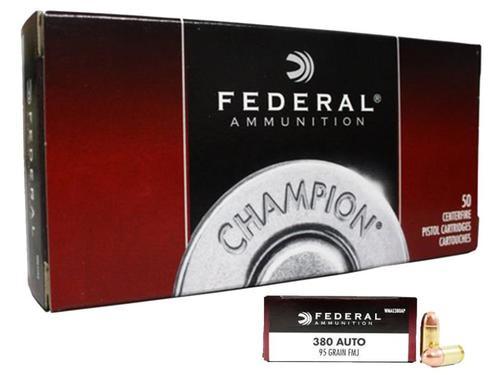 Federal Champion, 380 ACP, 95Gr, Full Metal Jacket, 50rd Box