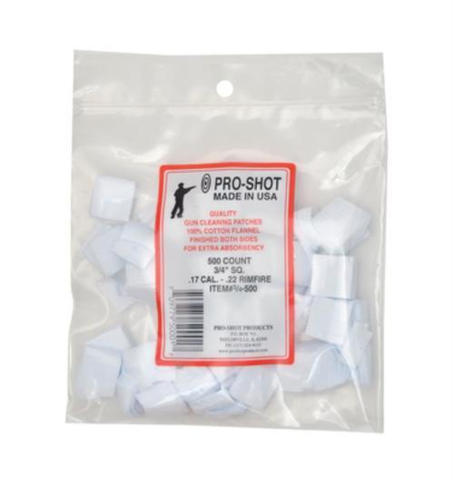 Pro-Shot Cotton Flannel Patches .17-.22 Rimfire .75 Inch Square, 500/Bag