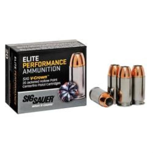 Sig Ammo 9mm 147Gr Elite V-Crown JHP 20rd Box
