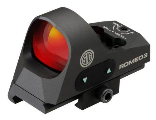 Sig Romeo 3 1x25 Reflex Sight, 3 MOA Red Dot, 1 MOA Adjustments, CR2032, Picatinny Style Low Rise/Co-Witness Mount