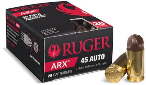 Ruger Pistol Ammunition, 45 ACP, 114 Gr, ARX Self Defense, 20rd Box
