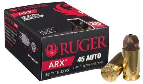Ruger Inceptor ARX Self Defense Ammo, 45 ACP 118 Gr, 20 Rd Box