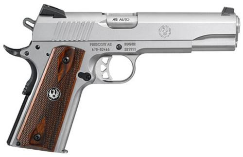 Ruger SR1911, 45 ACP, Novak Sights, SS, Wood Grips