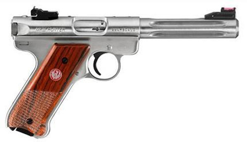 "Ruger MKIII Hunter, 22LR, 5.5"" Fluted Barrel, Fiber Optic Site, SS"