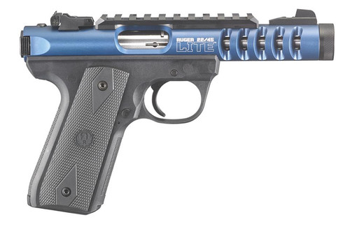 "Ruger 22/45 Lite .22lr, 4.4"", Threaded Barrel, Blue Anodized, Adj Sights, 10rd"