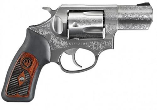 "Ruger SP101 Deluxe 357 MAG 2-1/4"" Barrel, Stainless Steel Engraved, Special Grips"