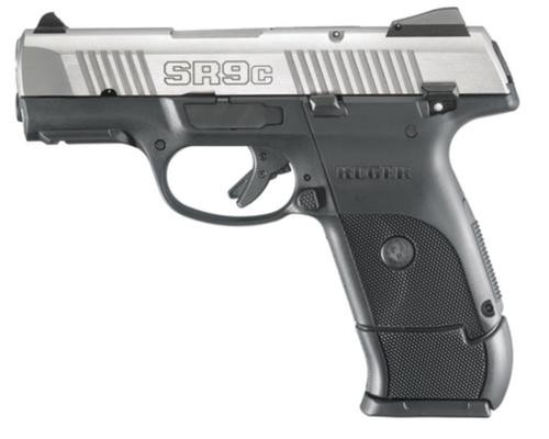 "Ruger SR9C Compact Pistol 9mm, 3.5"" Barrel, Stainless Steel, 17rd Mag"
