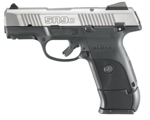 "Ruger SR9C Compact Pistol 9mm, 3.5"" Barrel, Stainless Steel, 17rd Mag"