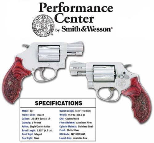 Smith & Wesson 637 Performace Center 38 Spl, SS Finish, Wood Grips, 5 Rnd