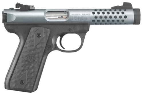 Ruger 22/45 Lite Rimfire Pistol 22LR 4.4 Inch Threaded Barrel Cobalt Anodize Finish Replaceable Molded Rubber Grip Panels 10 Round