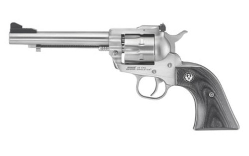 "Ruger Single-Six Convertible, Single Action Revolver, 22LR/22WMR, 5.5"" Barrel, Satin Stainless Finish, Black Laminate Grips, 6Rd, Adjustable Sights"